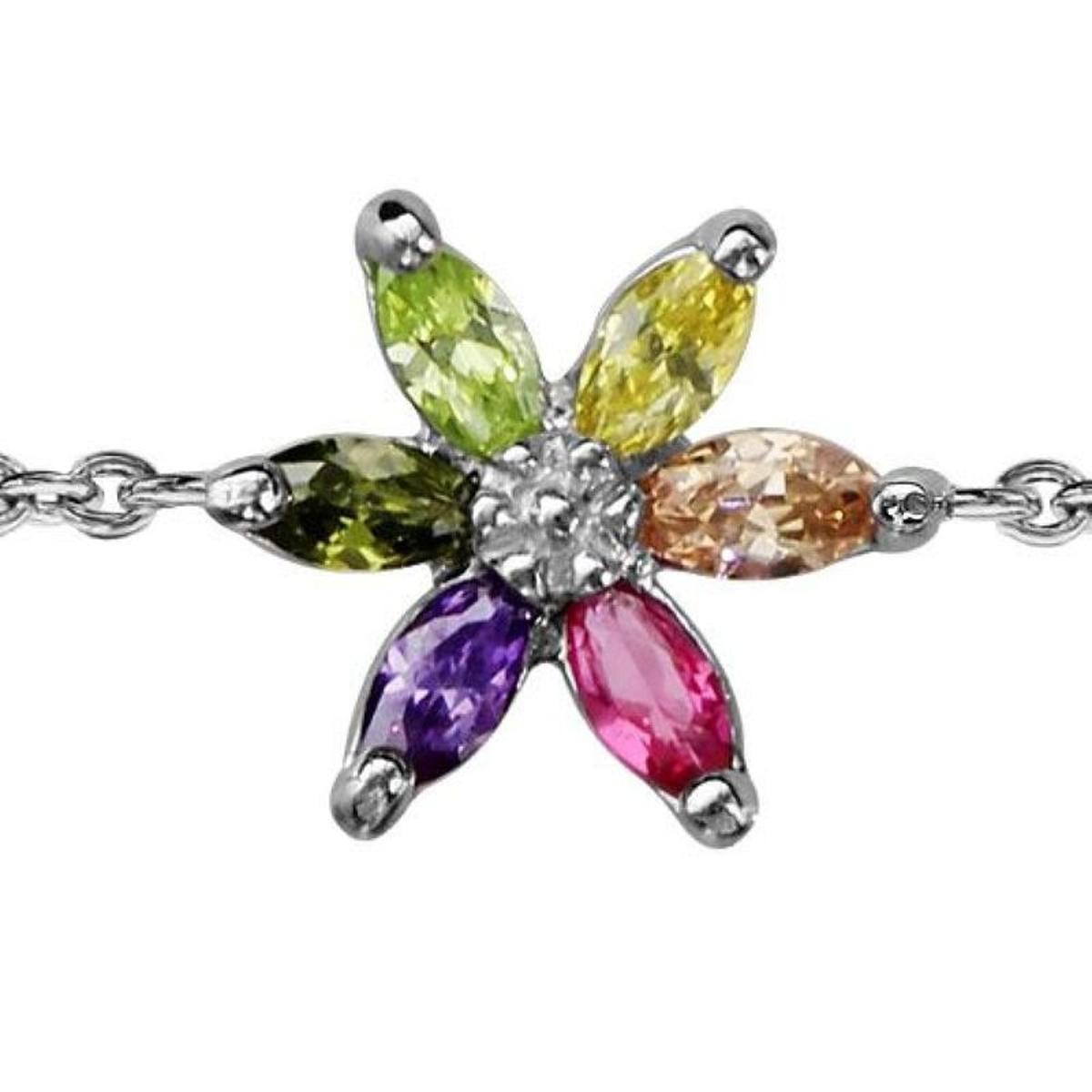 Bracelet Réglable: 16 à 18 cm Fleur Argent 925