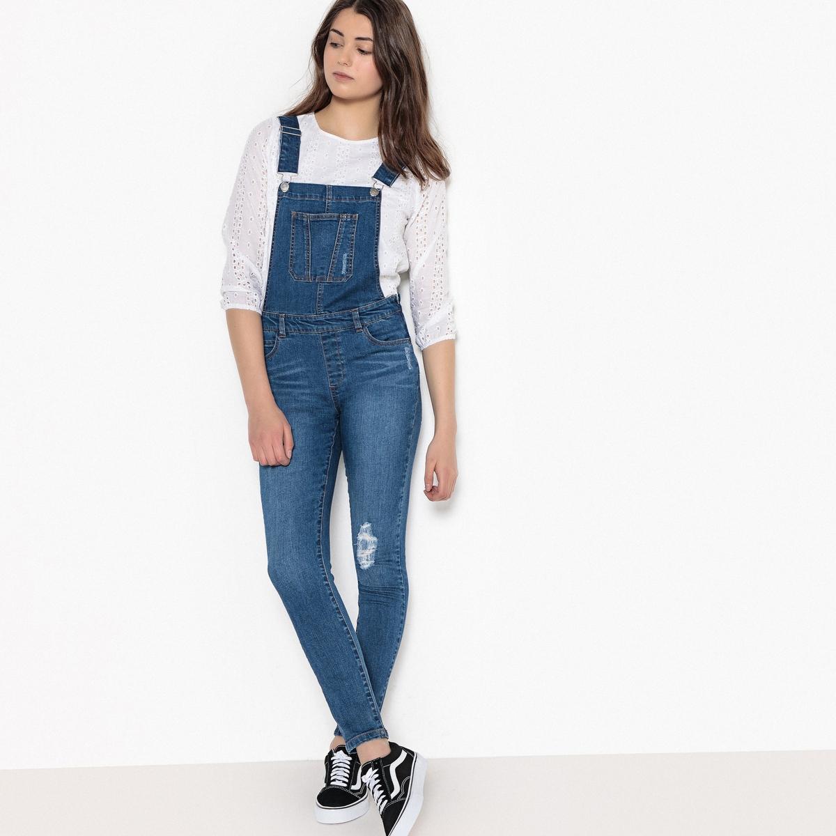 Комбинезон джинсовый с рваным эффектом, 10-16 лет