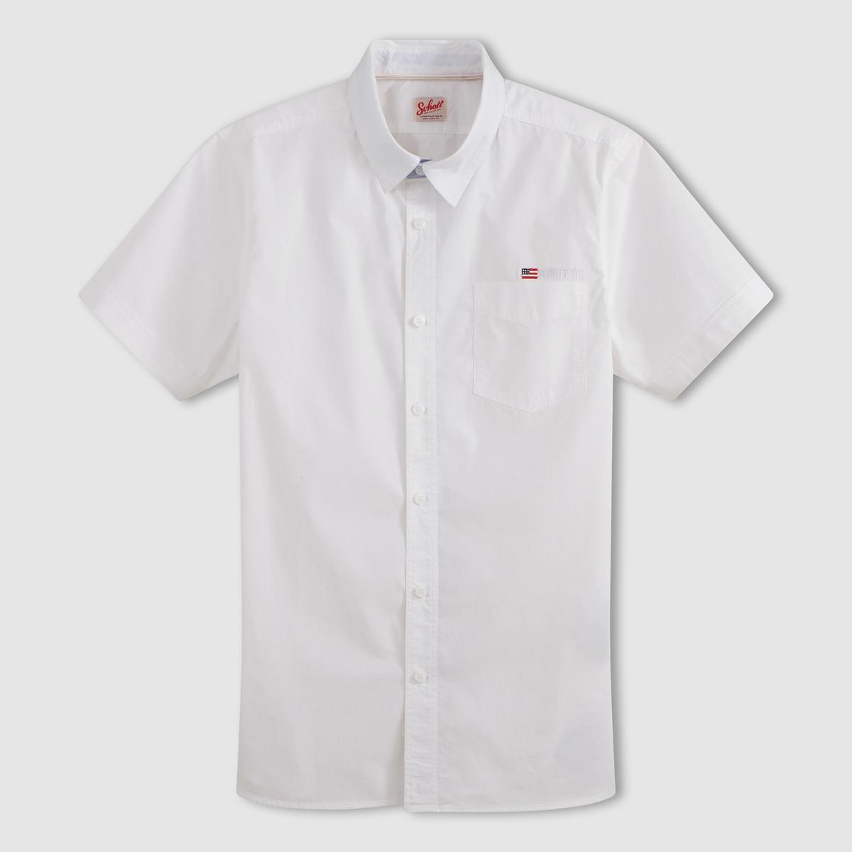 Рубашка с короткими рукавами STAMFORDРубашка с короткими рукавами STAMFORD - SCHOTT. Прямой покрой, классический воротник, застежка на пуговицы.  1 нагрудный карман. Низ рукавов с застежкой на пуговицы. Логотип нашит на кармане.Состав и описание :Материал : 100% хлопкаМарка : SCHOTT<br><br>Цвет: белый<br>Размер: L