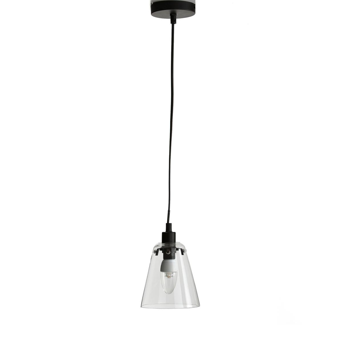 Подвесной светильник из стекла и металла, KIYOПростые и современные линии этого подвесного светильника из стекла в форме абажура, который сочетается с любым интерьером.Характеристики подвесного светильника Kiyo :Электрифицированный   Патрон E14/флуокомпактная лампа 8 Вт макс., продается отдельно.Этот светильник совместим с лампочками энергетического класса  : A Абажур из прозрачного стекла Вставка из матового металла черного цвета, покрытие эпоксидной краскойКабель с пластиковой оболочкой, 120 смВсю коллекцию светильников вы можете найти на сайте laredoute.ru.Размеры подвесного светильника Kiyo :Абажур : Диаметр внизу : 13,4 смДиаметр верха : 14,2 смКабель: Длина 120 см.<br><br>Цвет: стеклянный прозрачный