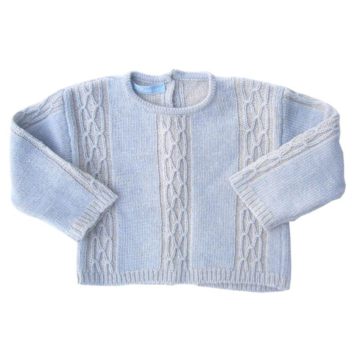 Pull cachemire  mérinos bleu et beige pour bébé