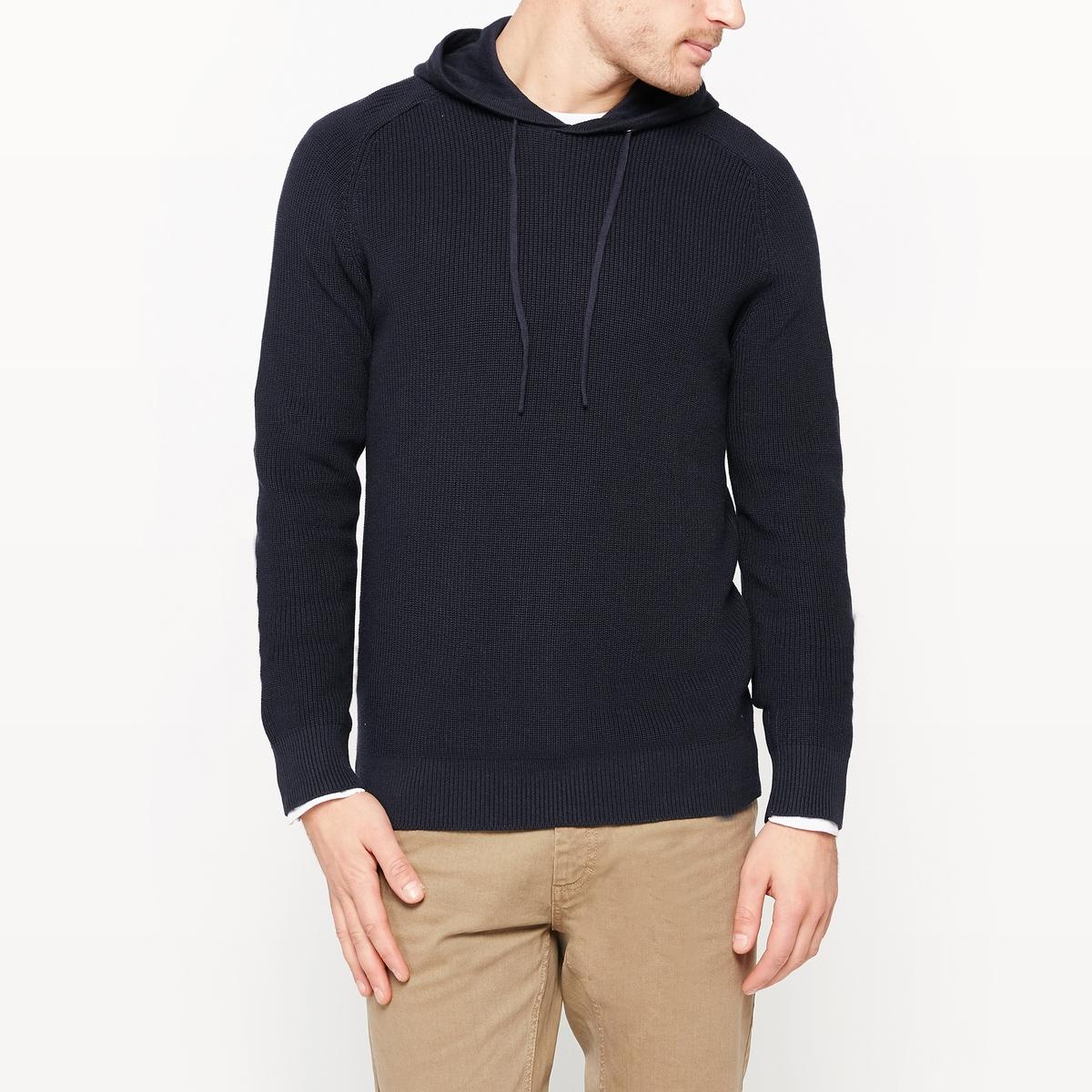 Пуловер с капюшоном из оригинального трикотажа