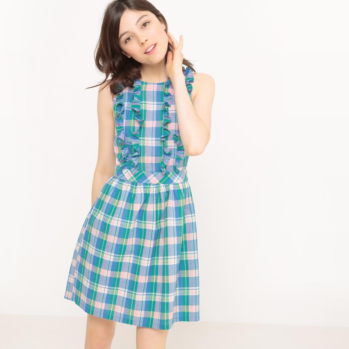 Платье короткое без рукавов, в клетку