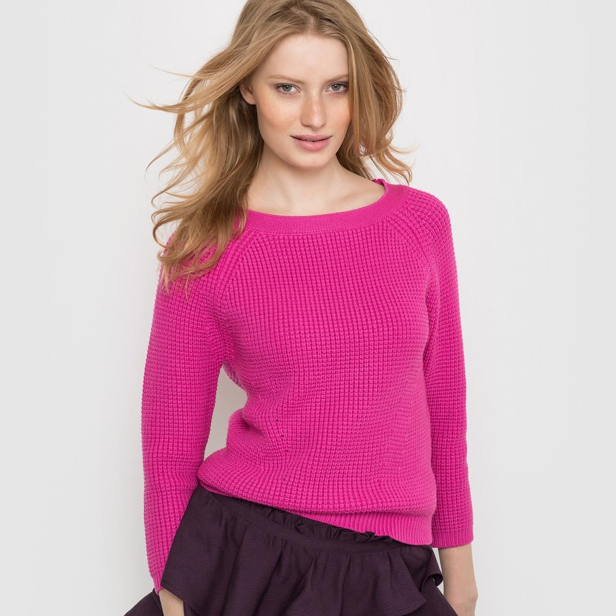 Пуловер короткий с рукавами 3/4 и круглым вырезомОчень модный в этом сезоне короткий пуловер, напоминающий внешним видом розовый леденец.<br><br>Цвет: розовый<br>Размер: 42/44 (FR) - 48/50 (RUS)