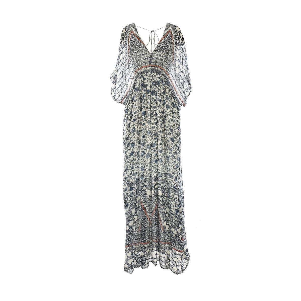 Платье длинное, с длинными рукавамиДетали •  Форма : прямая   •  Длинное •  Длинные рукава     •   V-образный вырез •  Рисунок-принтСостав и уход •  100% вискоза   •  Следуйте советам по уходу, указанным на этикетке<br><br>Цвет: наб. рисунок синий<br>Размер: L