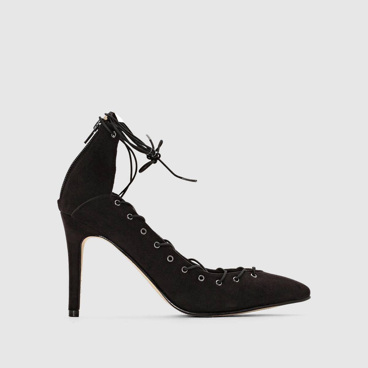 Туфли на высоком каблукеПодкладка : синтетика  Стелька : кожа   Подошва : из эластомера   Каблук : 10 см Мы советуем Вам заказывать модель на один размер больше Вашего обычного размера.<br><br>Цвет: черный<br>Размер: 36.38.40