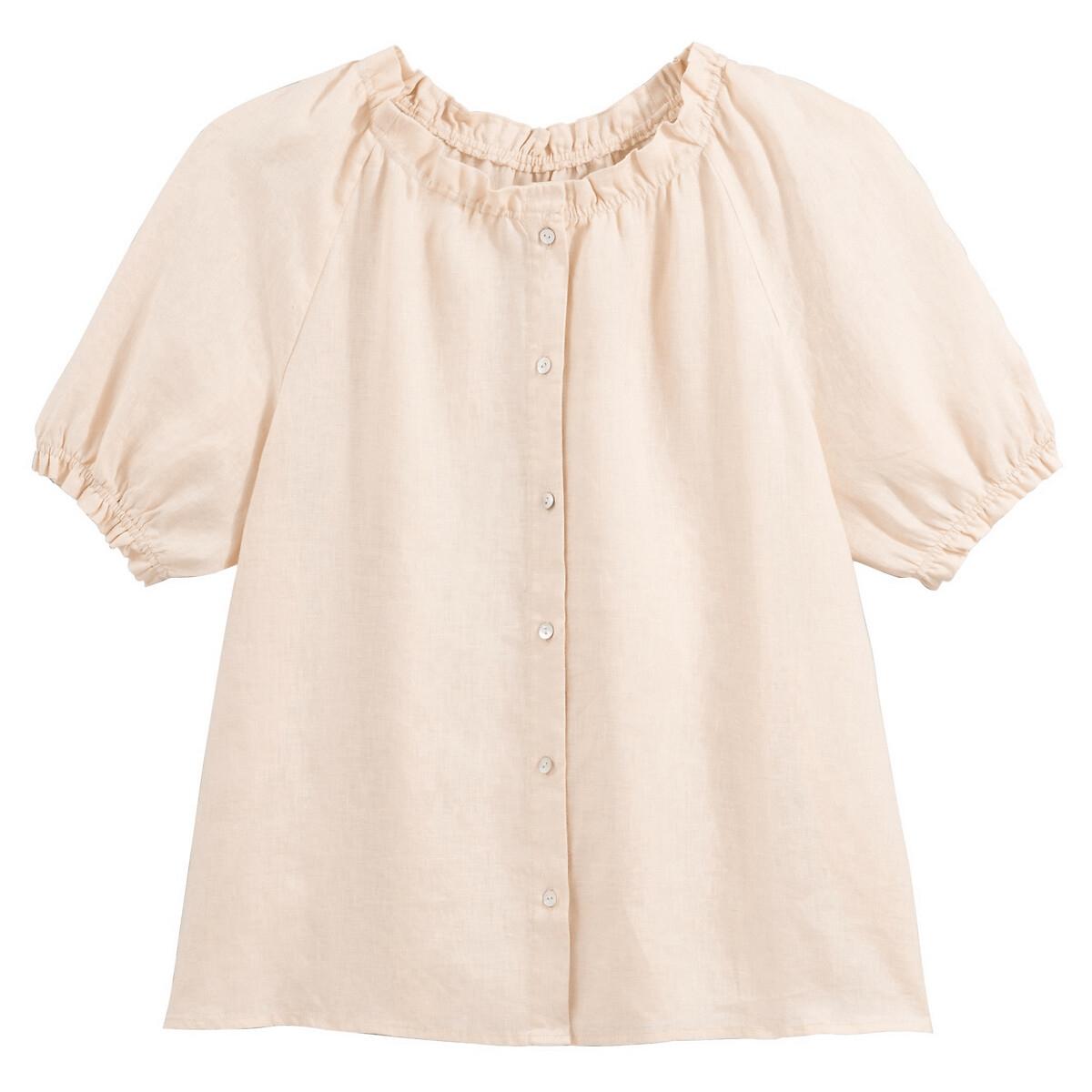 Camisa con cuello redondo y manga corta farolillo de lino