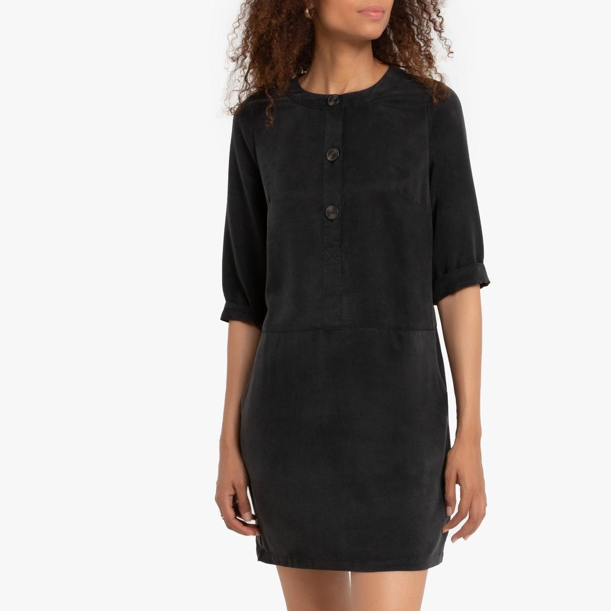 Платье La Redoute Короткое с застежкой на пуговицы и поясом Ribbiny M черный пиджак с застежкой на пуговицы sartorio