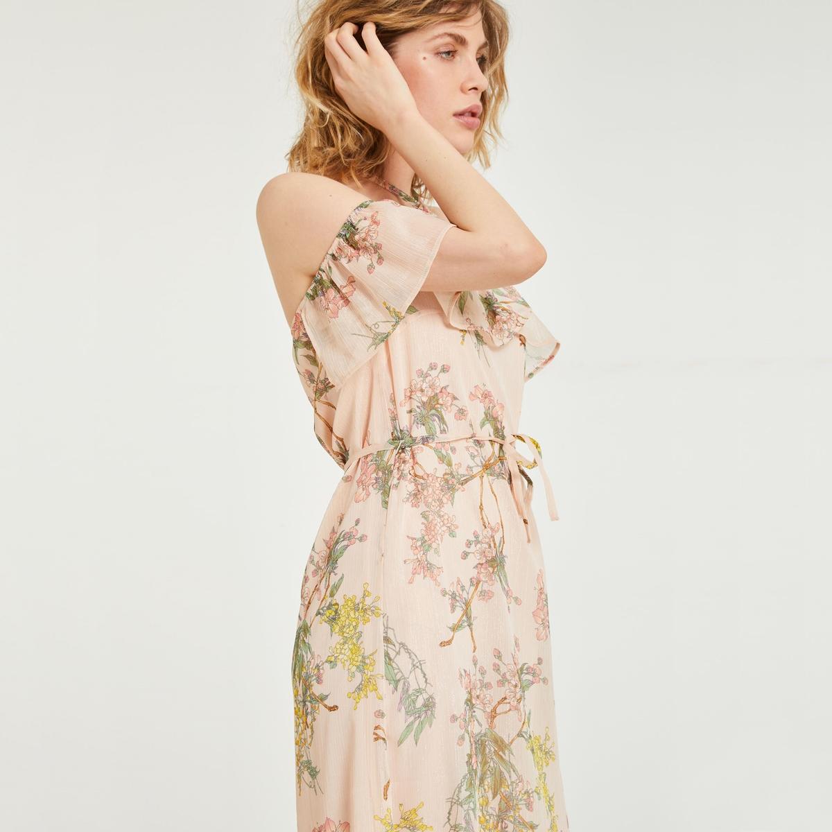 Платье длинное с приспущенными плечами и цветочным рисунком