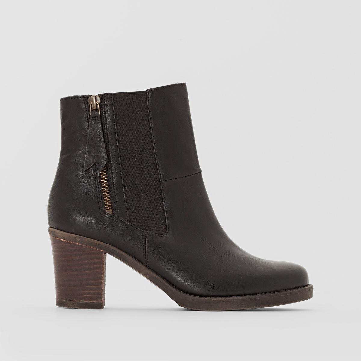 Ботильоны на каблуке MAURA BOOTIEМатериал внешний/внутренний:  полиуретан                   Подкладка: синтетический материал        Стелька: полиуретан   Подошва: каучук.    Высота каблука: 7 см   Высота голенища: 12 см    Форма каблука: широкий   Мысок: закругленный   Застежка: на молнии<br><br>Цвет: черный