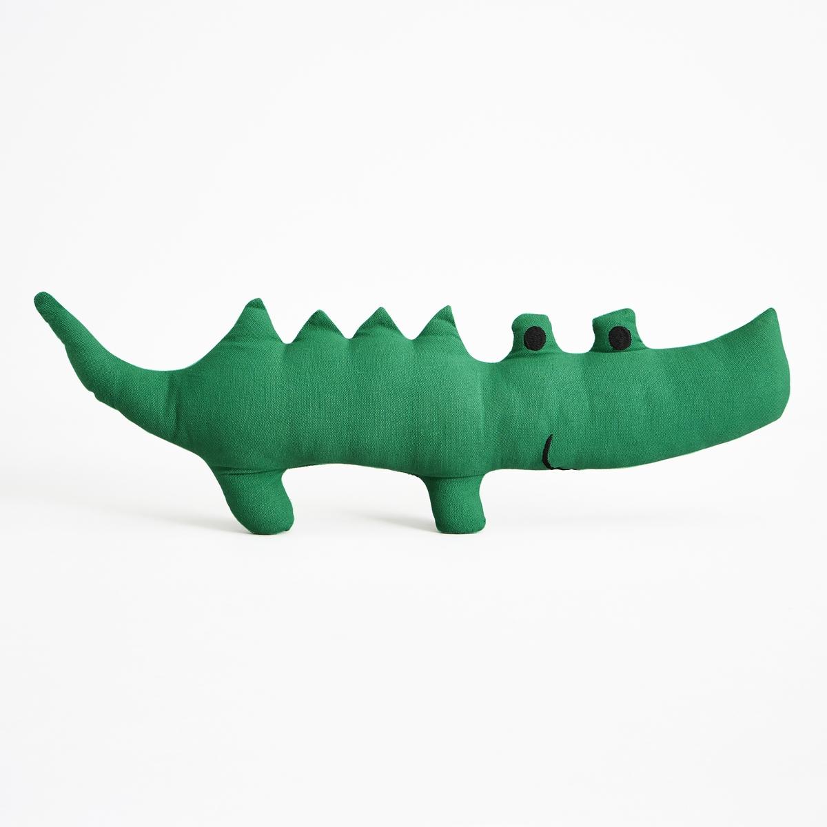 Подушка в форме крокодила PachecoХарактеристики :- Покрытие из 100% хлопка с элементами вышивки- Наполнитель 100% полиэстер- Стирка при 40°C Размеры :- Д65 x В12 x Г7 см<br><br>Цвет: зеленый