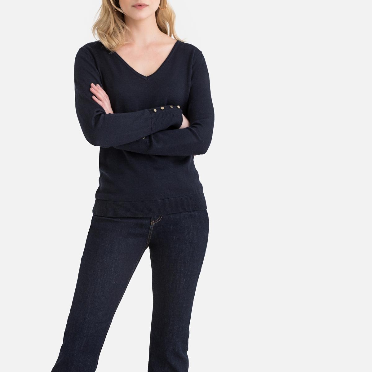 цена Пуловер La Redoute С V-образным вырезом из полушерстяного тонкого трикотажа 46/48 (FR) - 52/54 (RUS) синий онлайн в 2017 году