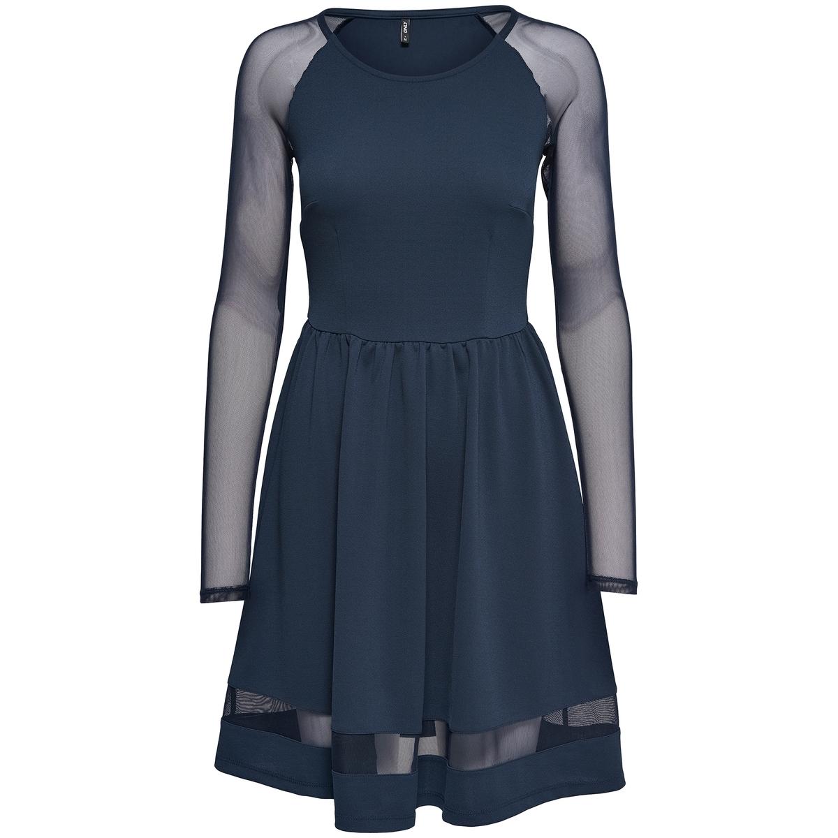 Платье до колен с длинными рукавамиДетали •  Форма : расклешенная •  Длина до колен •  Длинные рукава     •  Круглый вырезСостав и уход •  5% эластана, 95% полиэстера  •  Следуйте советам по уходу, указанным на этикетке<br><br>Цвет: синий
