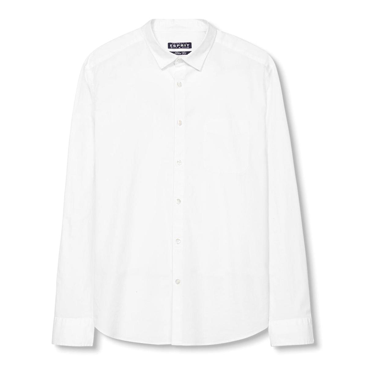 Рубашка с длинными рукавамиРубашка с длинными рукавами - ESPRIT.  Прямой покрой, классический воротник. Нагрудный карман. Застёжка на пуговицы, манжеты с застёжкой на пуговицы.Состав и описаниеМатериал: 97% хлопка, 3% эластана. Марка: ESPRIT.<br><br>Цвет: белый<br>Размер: L