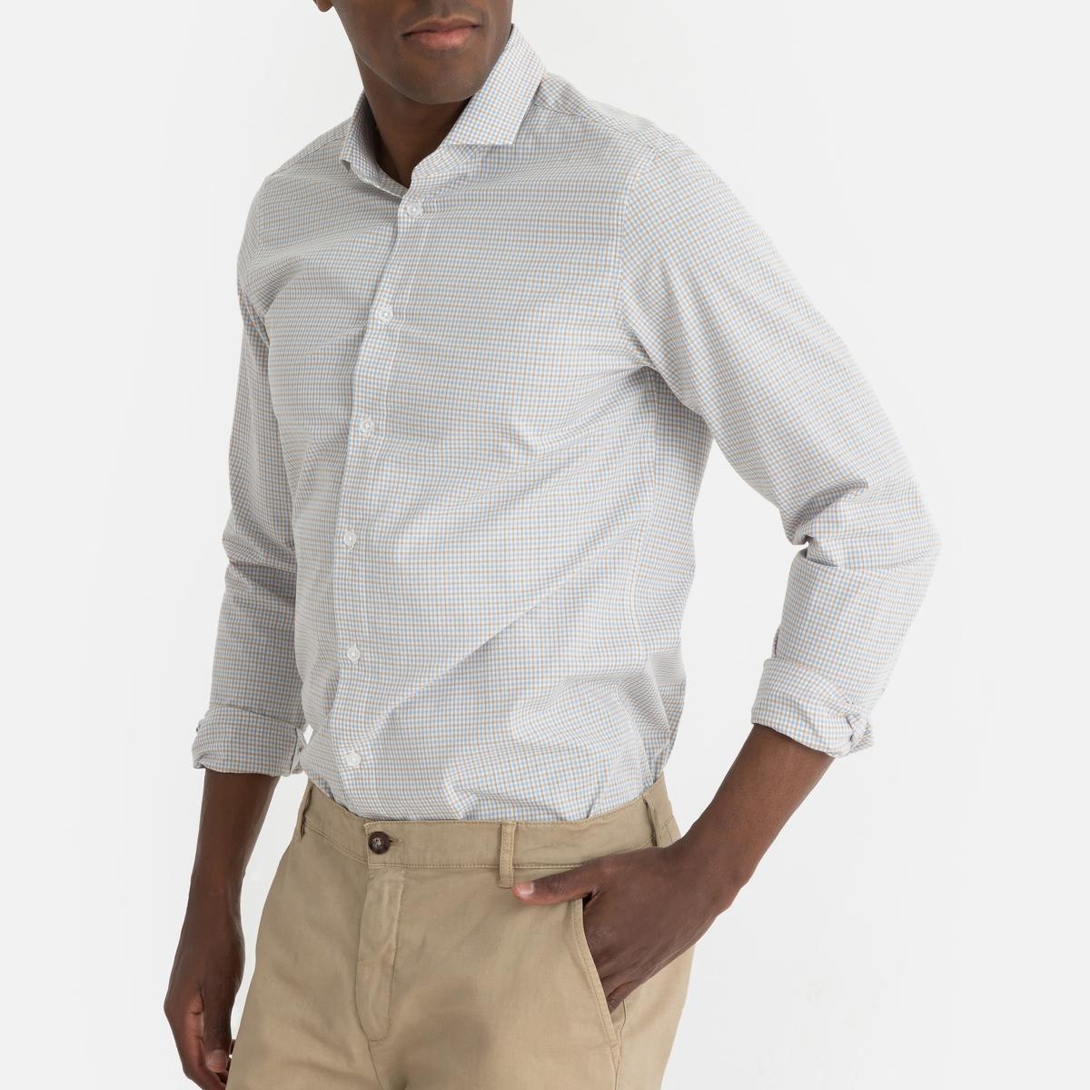 Фото - Рубашка LaRedoute Прямого покроя с рисунком в мелкую клетку и длинными рукавами 47/48 бежевый юбка laredoute джинсовая прямого покроя xs синий