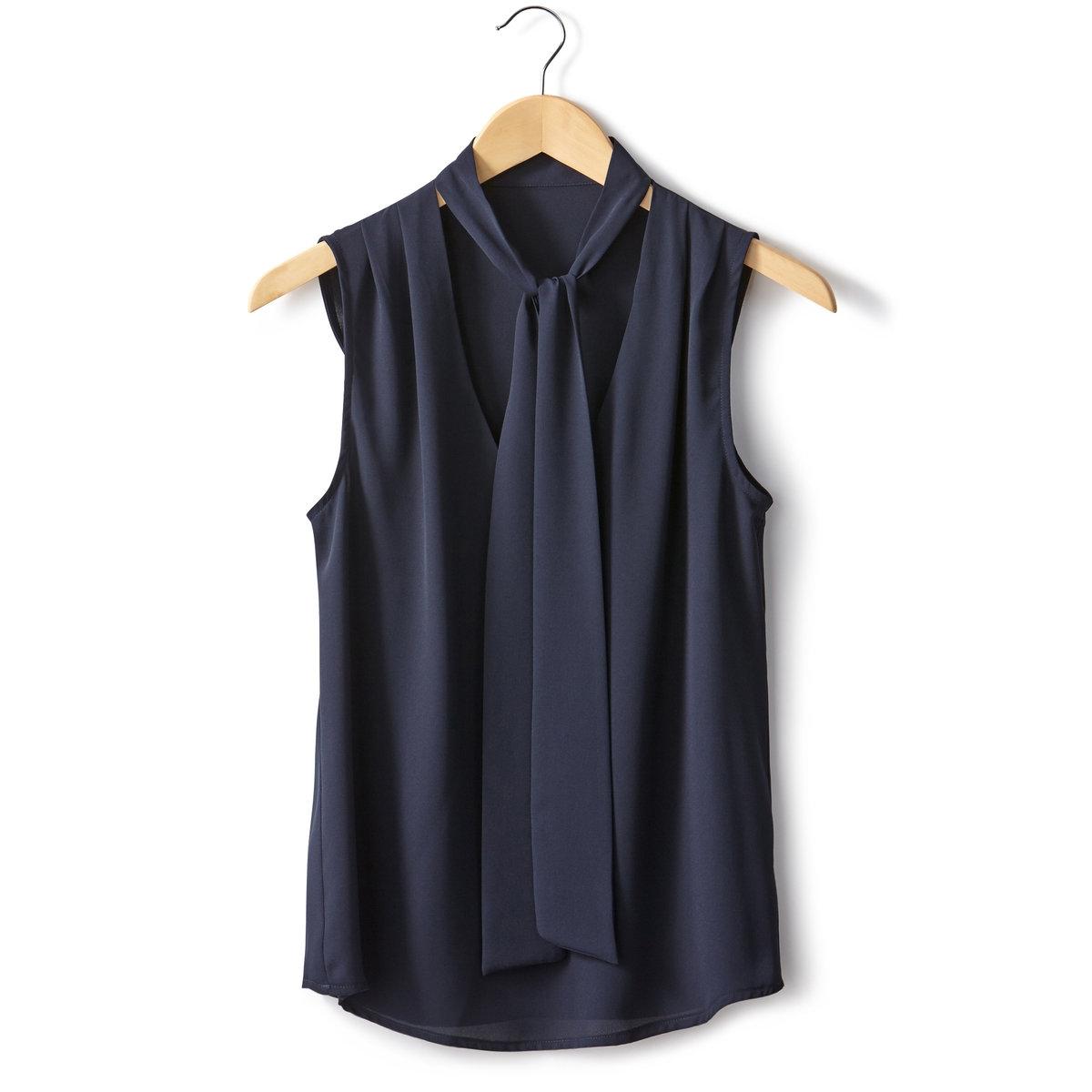 Блузка без рукавовБлузка из струящегося крепа, 100% полиэстера. Завязки на вырезе. V-образный вырез. Складки на плечах спереди. Закругленный низ. Длина 66 см.<br><br>Цвет: синий морской<br>Размер: 40 (FR) - 46 (RUS)