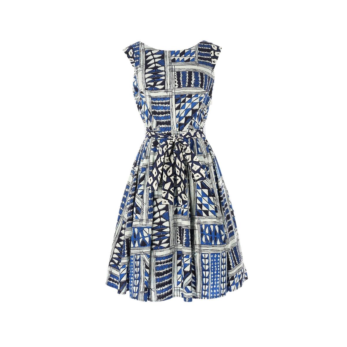 Платье расклешенное с рисункомМатериал : 100% вискоза  Длина рукава : короткие рукава  Форма воротника : без воротника Покрой платья : расклешенное платье Рисунок : графический   Длина платья : короткое<br><br>Цвет: наб. рисунок синий<br>Размер: S