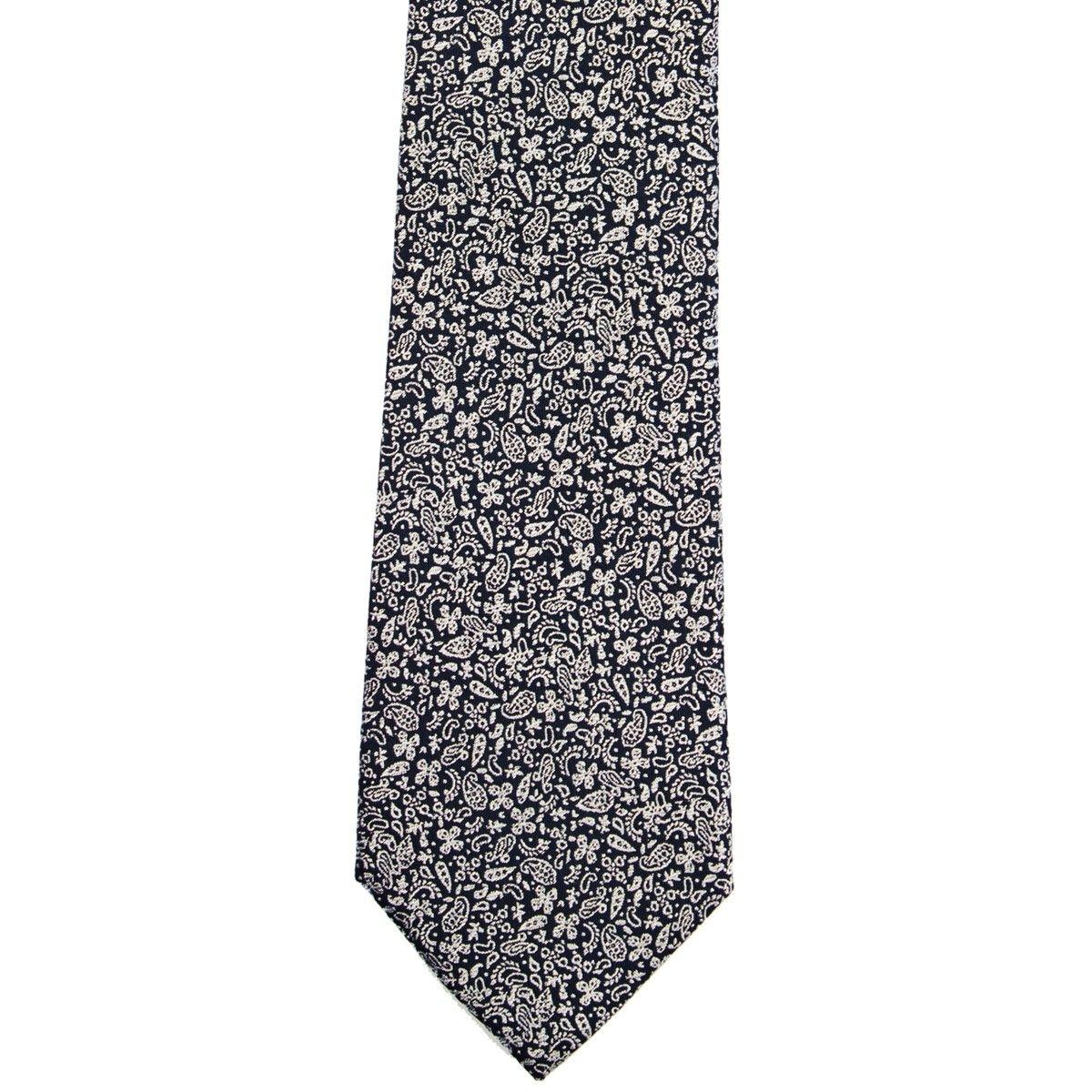 Cravate en pure soie marine à cachemire fantaisie