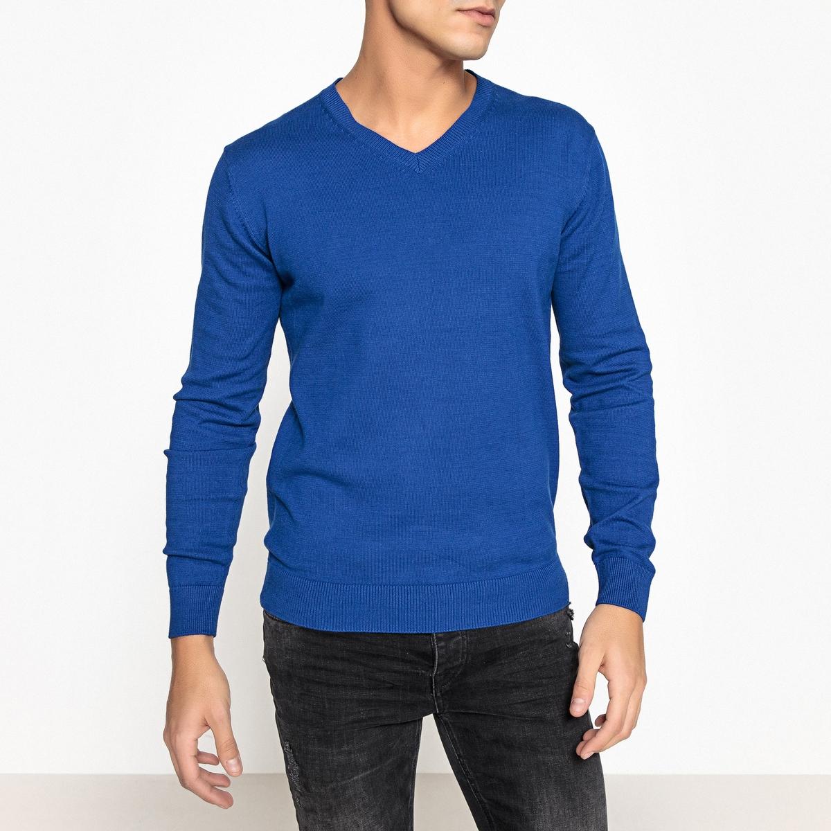 Пуловер с V-образным вырезом, 100% хлопкаПуловер с длинными рукавами. Прямой покрой, V-образный вырез. Края низа и рукавов связаны в рубчик.Состав и описание Материал : 100% хлопкаМарка : R essentiel.<br><br>Цвет: бежевый меланж,черный<br>Размер: L.M.S