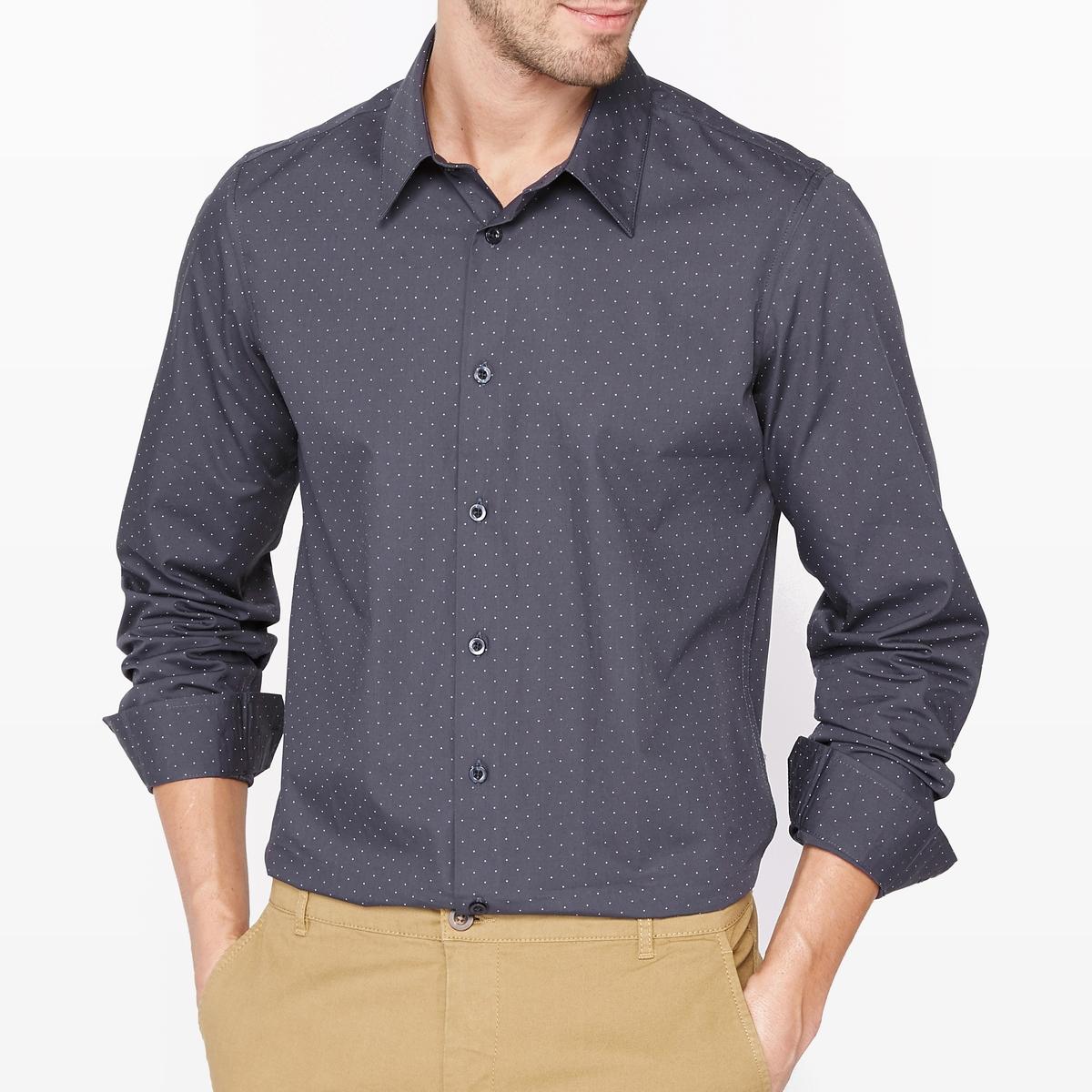 Рубашка облегающая в горошек с длинным рукавомРубашка с рисунком. Зауженный покрой. Длинные рукава. Французский воротник с уголками на пуговицах. Состав и описаниеМатериалы : 100% хлопокДлина : 79 смМарка : R essentiel.УходМашинная стирка при  40°CСухая (химическая) чистка запрещенаОтбеливание запрещеноСтирать вместе с одеждой подобных цветовБарабанная сушка запрещенаГладить при средней температуре<br><br>Цвет: в горошек/темно-синий,синий/наб. рисунок<br>Размер: 35/36.47/48.45/46.43/44.41/42.35/36.45/46.43/44.41/42.39/40