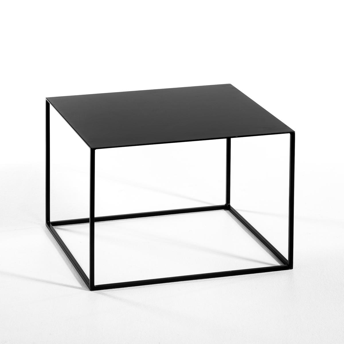 Столик Romy, квадратныйОписание :   Из лакированного металла .Размеры : - 50 x 35 x 50 см .<br><br>Цвет: серый,черный