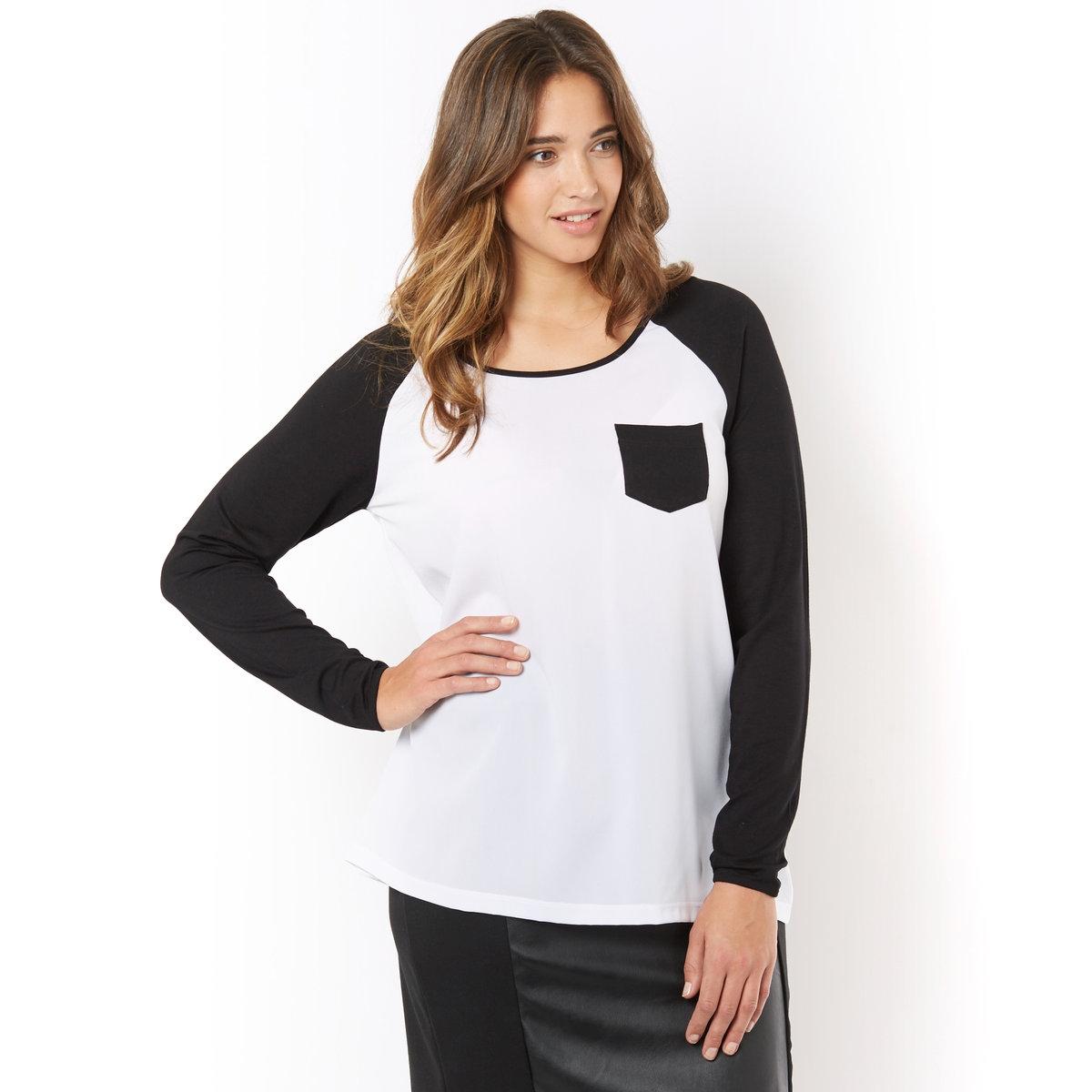 Футболка двухцветнаяДвухцветная футболка. Круглый вырез, длинные рукава и нагрудный карман с контрастной отделкой. Рукава из трикотажа контрастного цвета: 95% вискозы, 5% эластана. Основа: вуаль, 100% полиэстера. Длина 70 см.<br><br>Цвет: белый/ черный<br>Размер: 42/44 (FR) - 48/50 (RUS)