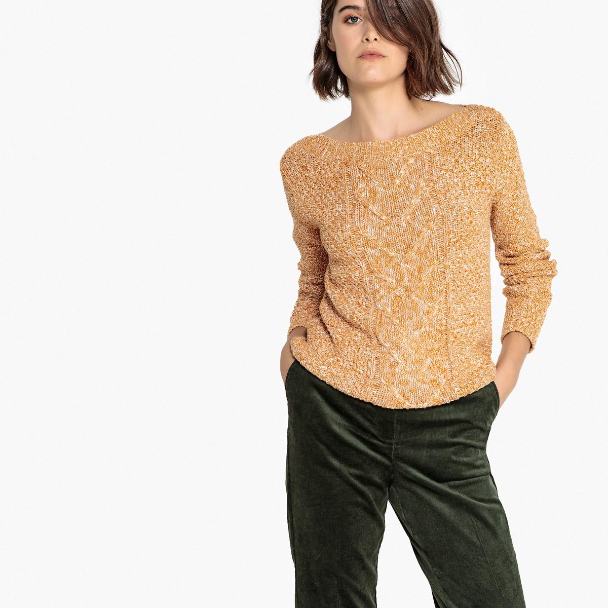 Sweter z dekoltem łódkowym z włóczki melanżowej