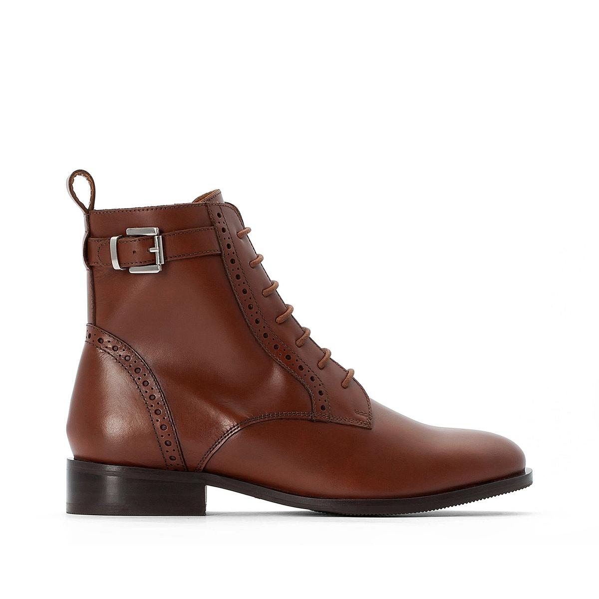 цена Ботильоны La Redoute Кожаные на молнии и оригинальной шнуровке 41 каштановый онлайн в 2017 году