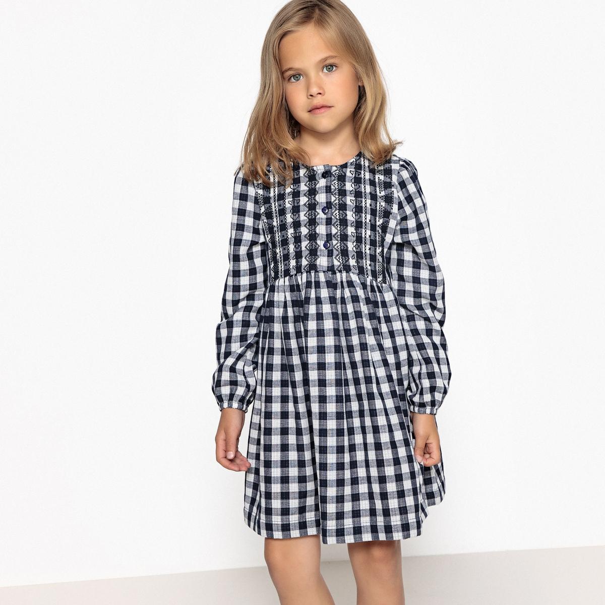 Платье в клетку с вышивкой, 3-12 лет джинсы скинни с вышивкой 3 12 лет