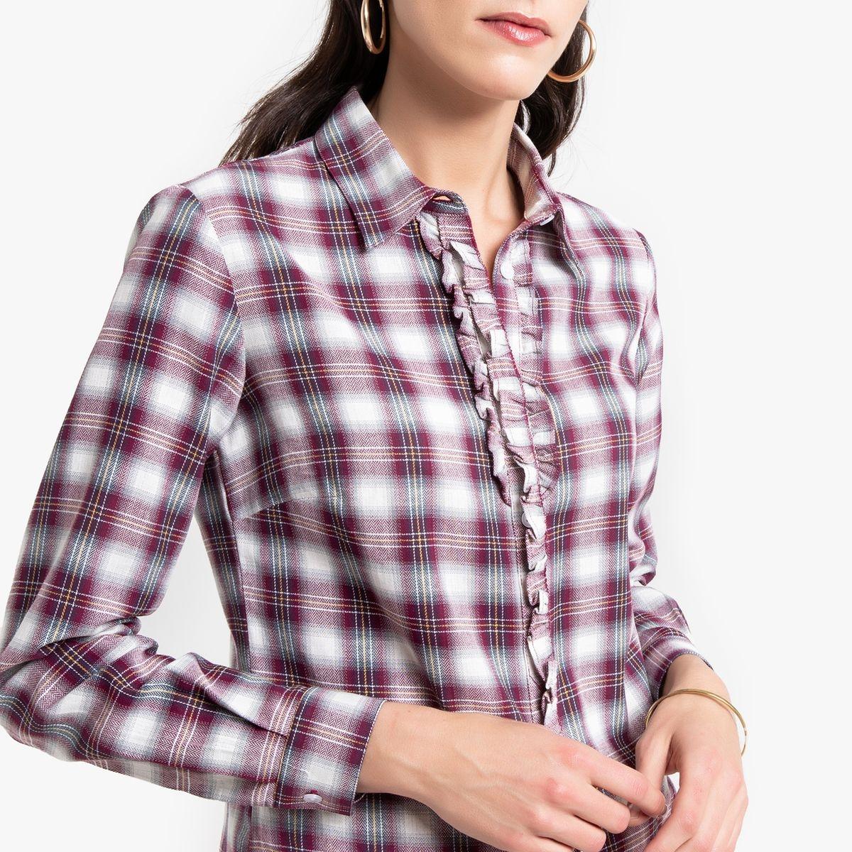 Chemise imprimée à carreaux, manches longues