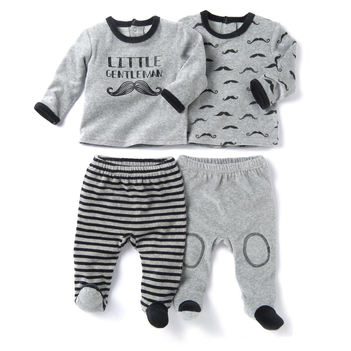 2 пижамы раздельные из велюра 0 мес-3 летТёплая и мягкая пижама из велюра, 75% хлопка, 25% полиэстера. В комплекте 2 пижамы : 1 пижама – однотонный верх с рисунком спереди и низом в полоску + 1 пижама – с рисунком усысверху и низ с прострочкой на коленях.Верх с разрезом горловины до серердины спины, чтобы облегить одевание.    Брюки со вшитыми носочками и эластичным поясом.    Нескользящая подошва начиная с размера 74 см (12 месяцев), эластичные вставки сзади для лучшей поддержки.Удобные планки застежки на кнопки соединяют кофточку и брюки !<br><br>Цвет: серый меланж + серый меланж<br>Размер: 0 мес. - 50 см.1 мес. - 54 см.3 мес. - 60 см.6 мес. - 67 см.1 год - 74 см.18 мес. - 81 см.3 года - 94 см