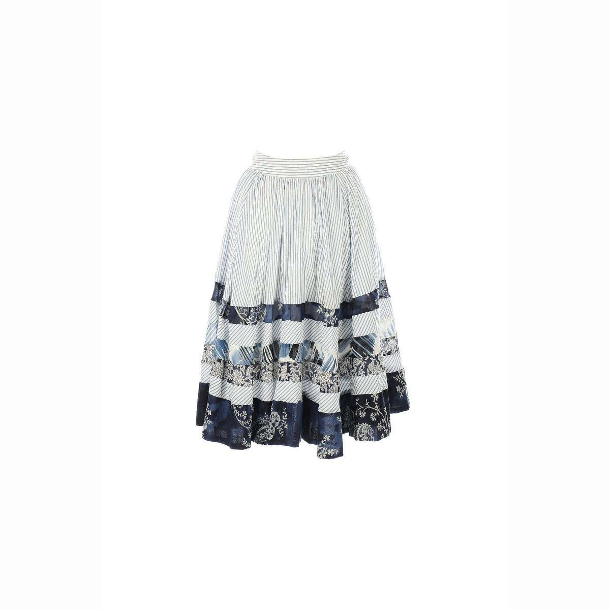 Юбка-миди с рисункомМатериал : 100% хлопок  Рисунок : в полоску Длина юбки : короткая<br><br>Цвет: темно-синий<br>Размер: L