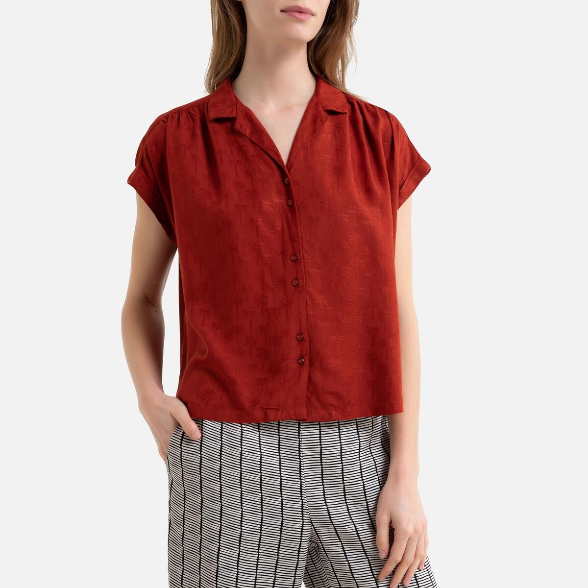 Блузка-рубашка La Redoute С короткими рукавами 3(L) красный цена 2017