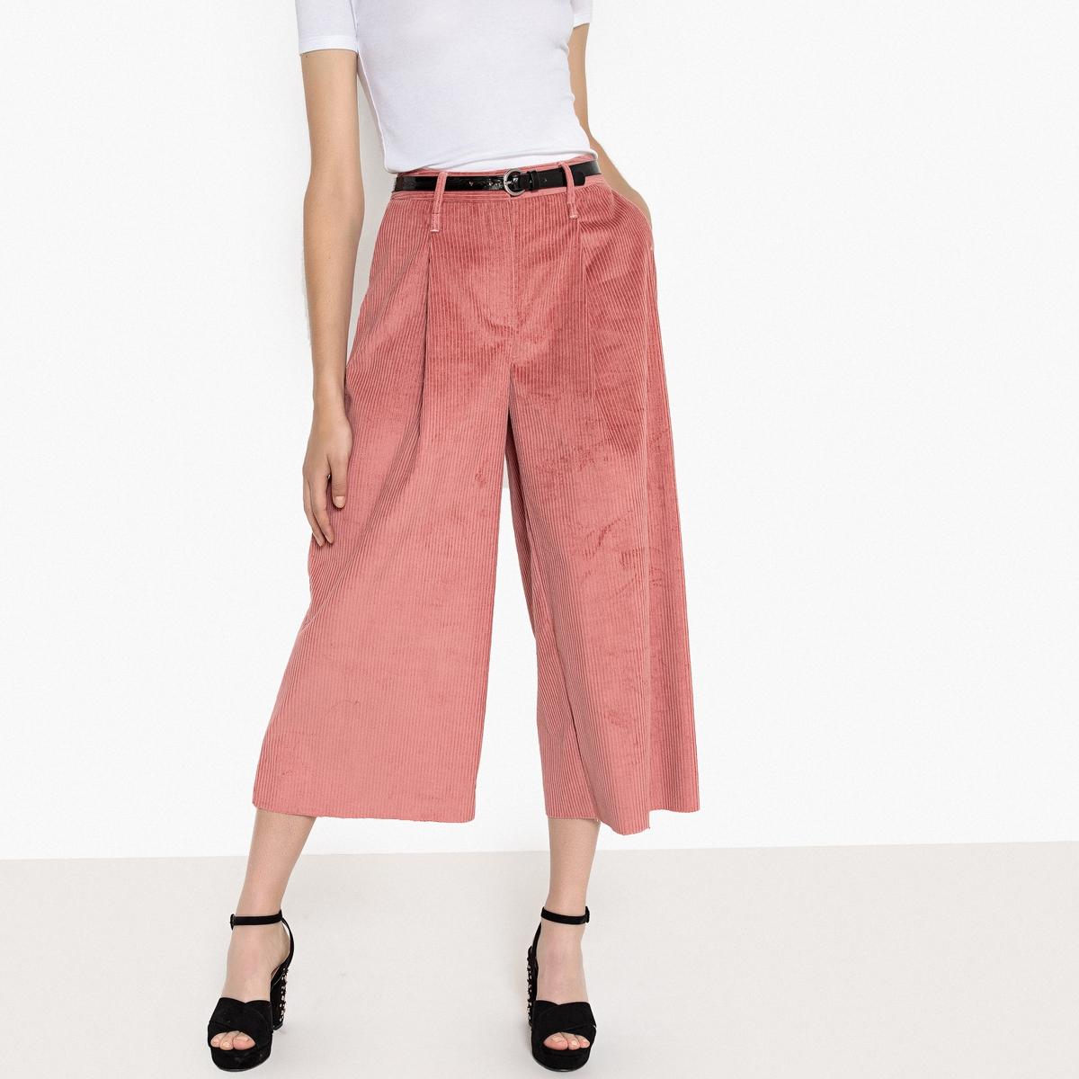 Falda pantalón de pana con acabado sin remate