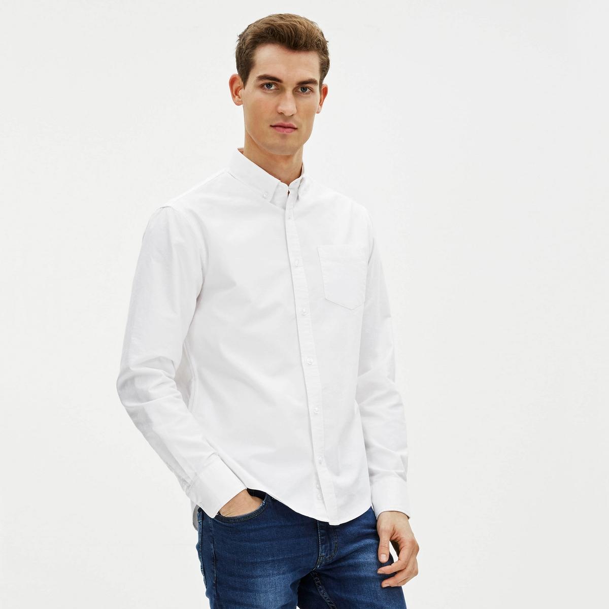 Рубашка узкого покроя GAOXFORD в стиле оксфордОднотонная рубашка GAOXFORD от CELIO® в стиле оксфорд.                 : : : : : : : : : : : : .xl63 { border:                        - Длинные рукава с манжетами на пуговицах - Узкий покрой (приталенный)- Слегка закругленный низ- Классический воротник с уголками на пуговицах- Застежка на пуговицы- Накладной нагрудный карманСостав и описание :Основной материал :  100% хлопокМарка : CELIO®Уход :Машинная стирка при 40 °C Сухая (химическая) чистка запрещена Машинная сушка Отбеливание запрещено Гладить при умеренной температуре<br><br>Цвет: белый,небесно-голубой<br>Размер: L.S