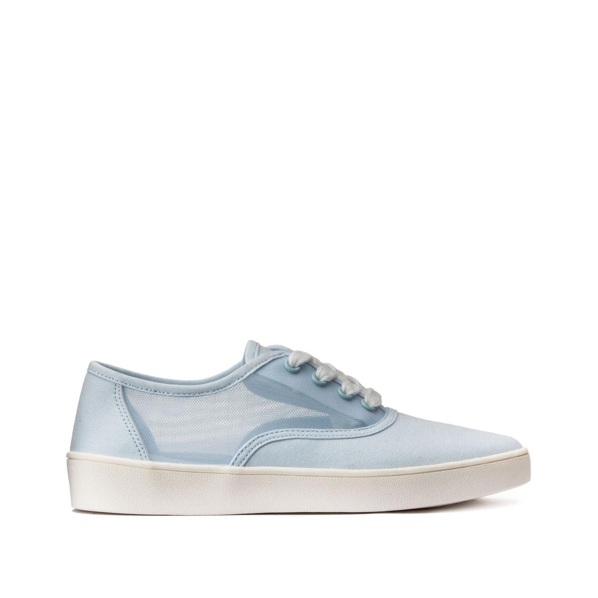 Кеды LaRedoute Тканевые на шнуровке с прозрачными вставками 38 синий