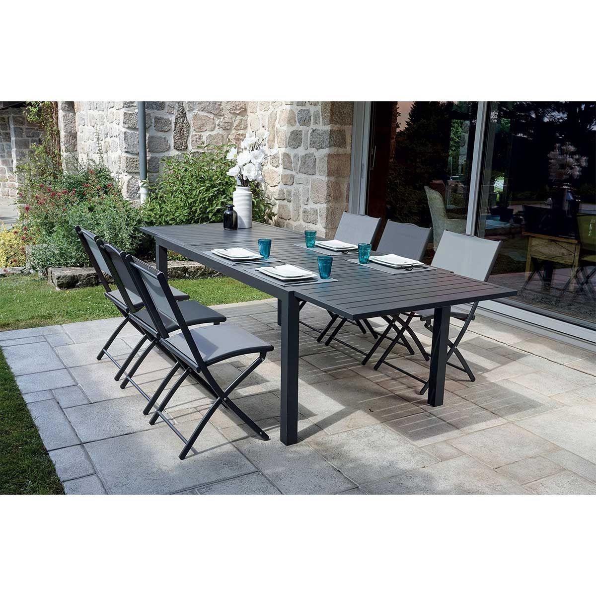 Ensemble de jardin avec table à rallonge et chaises pliantes