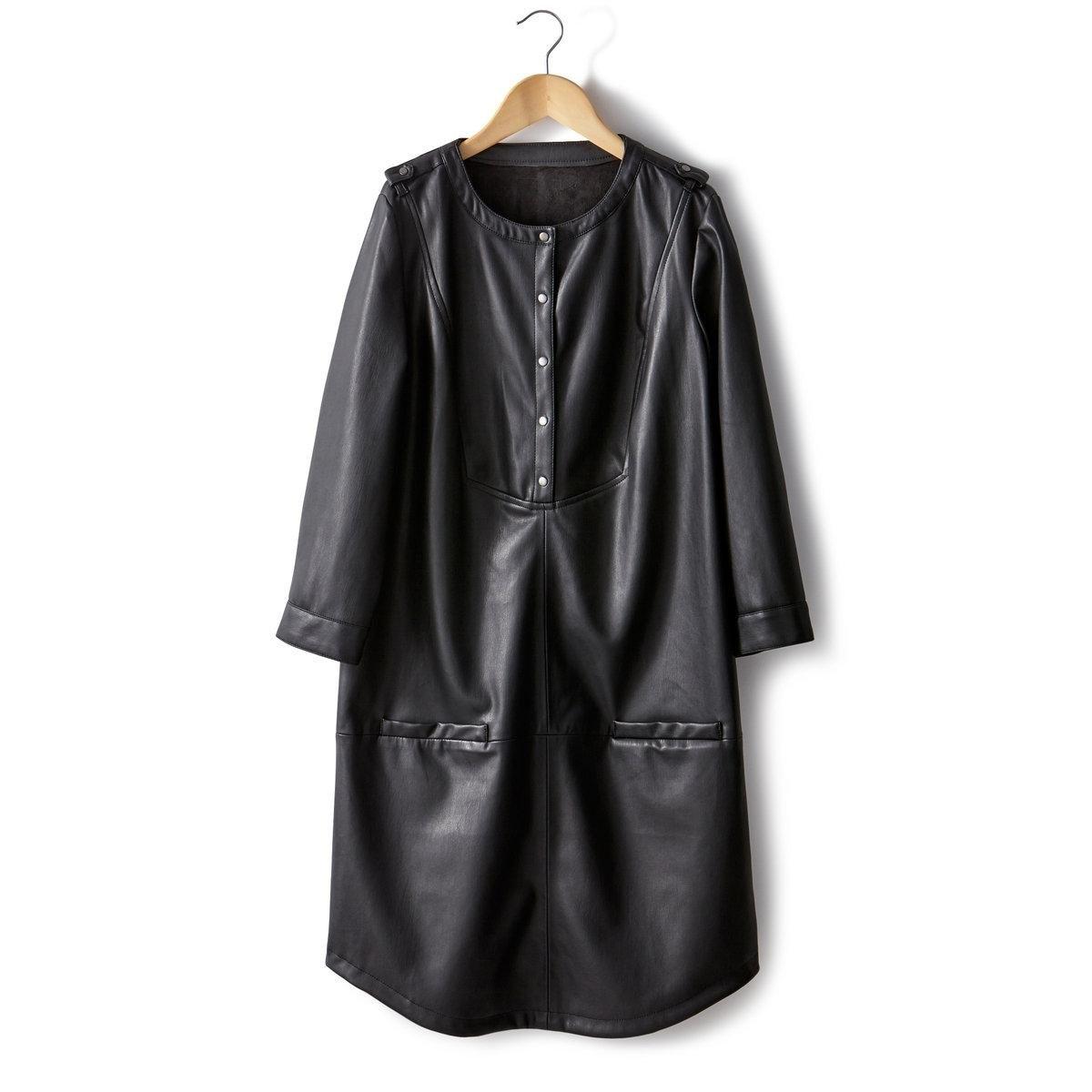 Платье из искусственной кожи с длинными рукавамиПлатье из искусственной кожи. 100% полиэстера. Планка застежки на кнопки на плечах. Манишка с застежкой на кнопки. 2 кармана спереди. Слегка закругленный низ. Длина платья: 90 см. Элегантное нарядное платье!<br><br>Цвет: черный<br>Размер: 36 (FR) - 42 (RUS)