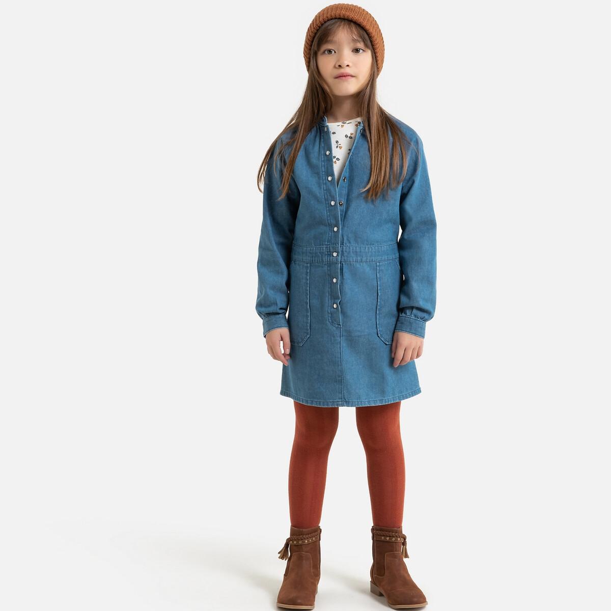 Фото - Платье LaRedoute Джинсовое с длинными рукавами 3-12 лет 8 лет - 126 см синий рубашка laredoute джинсовая 3 12 лет 8 лет 126 см синий