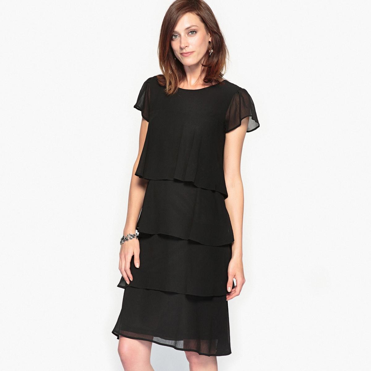 Платье с воланом из жатого крепа платье с воланом из жатого крепа