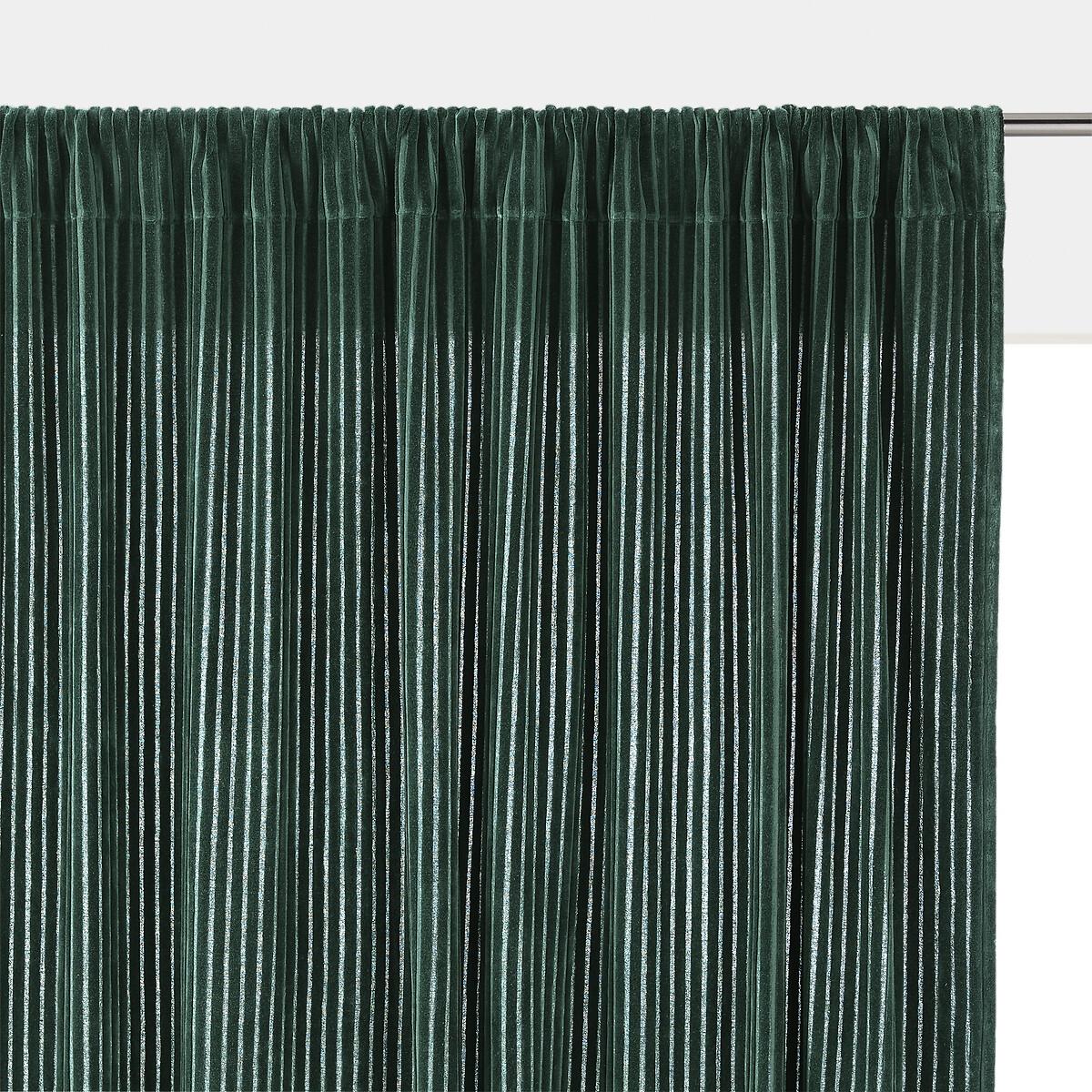 Штора LaRedoute Из рифленого велюра Corduroy 180 x 135 см зеленый