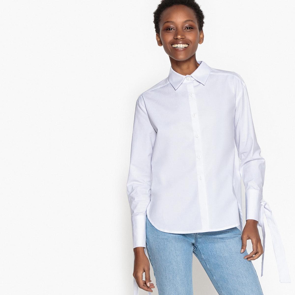 Рубашка однотонная из хлопка, манжеты с бантиками