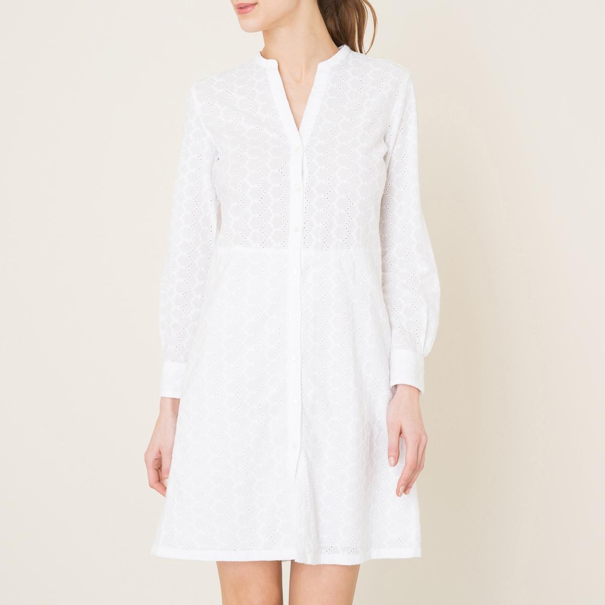 Платье с вышивкойСостав и описание Материал : 100% хлопокПодкладка низа 100% хлопокДлина : 95 см. для размера 36Марка : HARTFORD<br><br>Цвет: белый