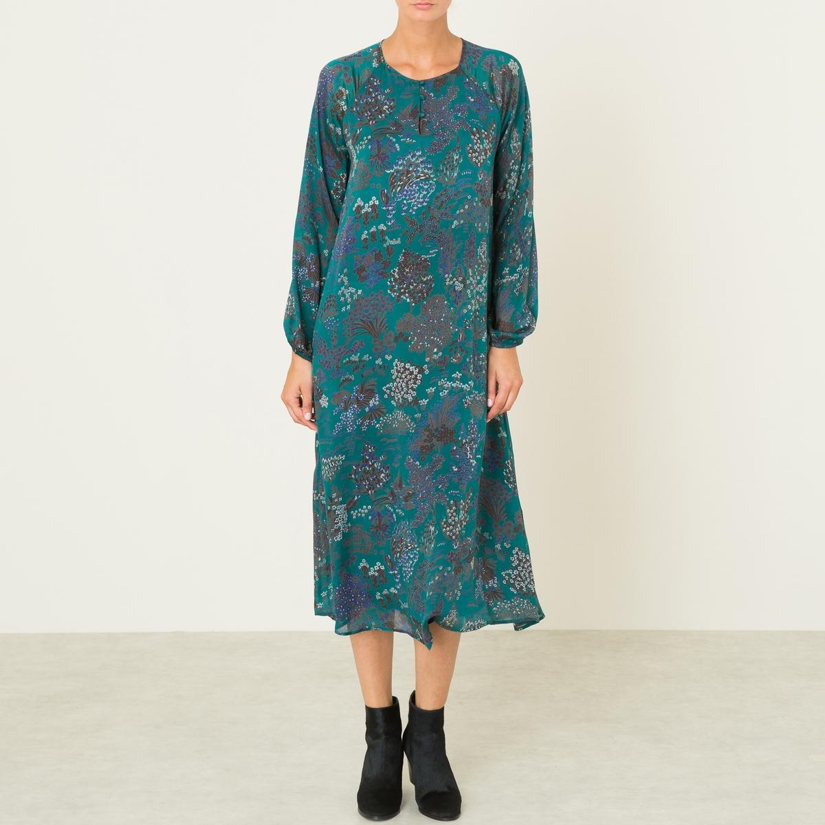 Платье длинное TORRE DRESSСостав и описание Материал : 100% шелк Длина : 122 см. (для размера 36) Марка : MES DEMOISELLES<br><br>Цвет: зеленый,черный<br>Размер: 36 (FR) - 42 (RUS).40 (FR) - 46 (RUS)