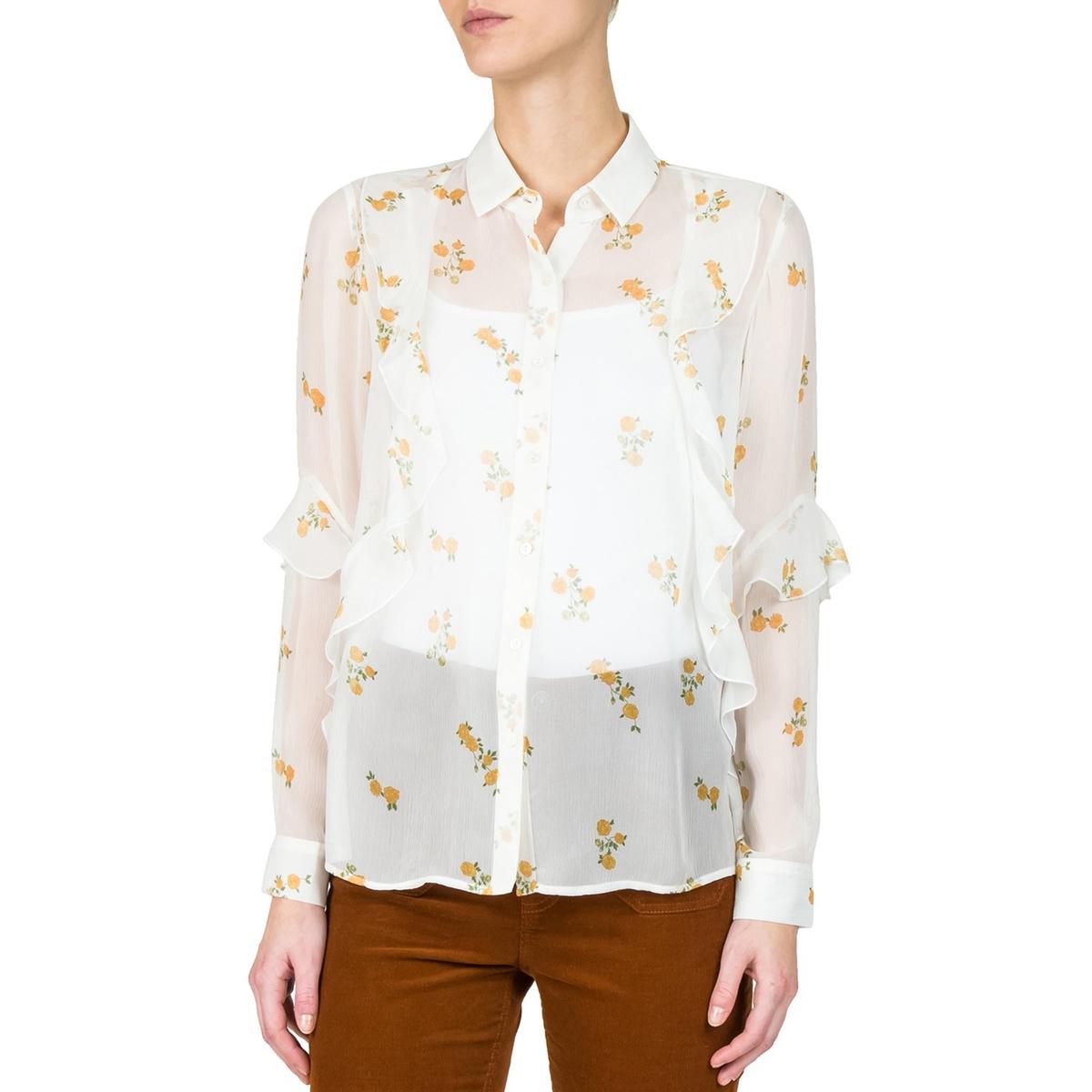 Рубашка прозрачная из шелка с рисунком