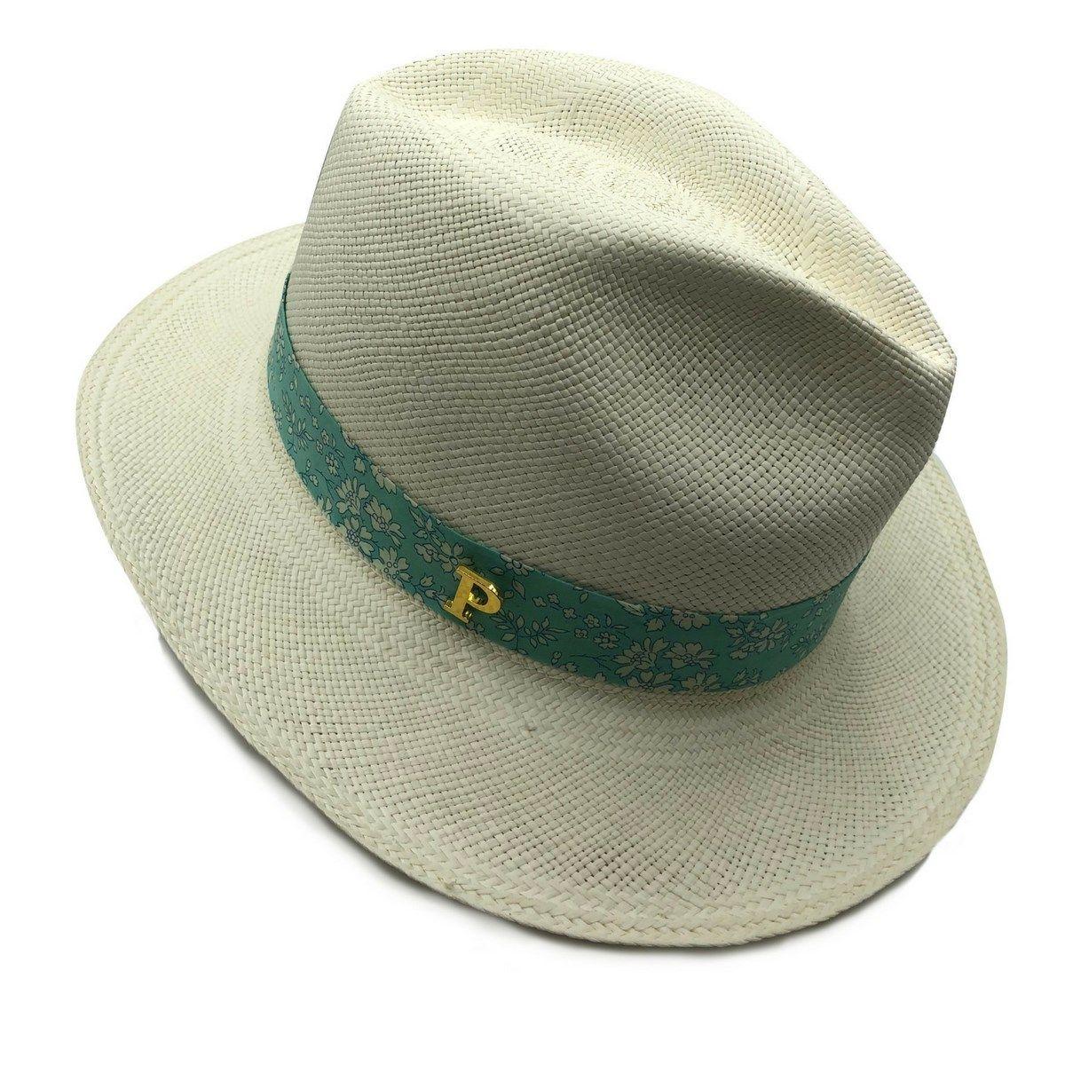 Chapeau Panama en paille écrue ruban interchangeable Liberty capel bleu