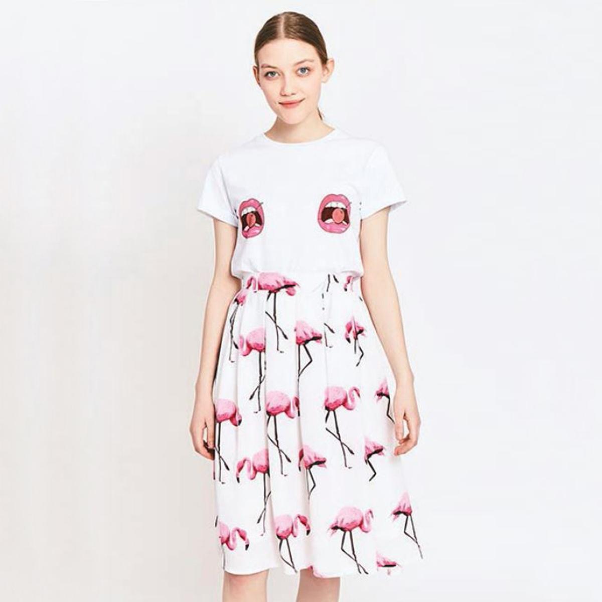 Юбка с рисунком розовый фламингоМатериал : 100% полиэстер  Рисунок : анималистический  Длина юбки : короткая<br><br>Цвет: рисунок белый/розовый