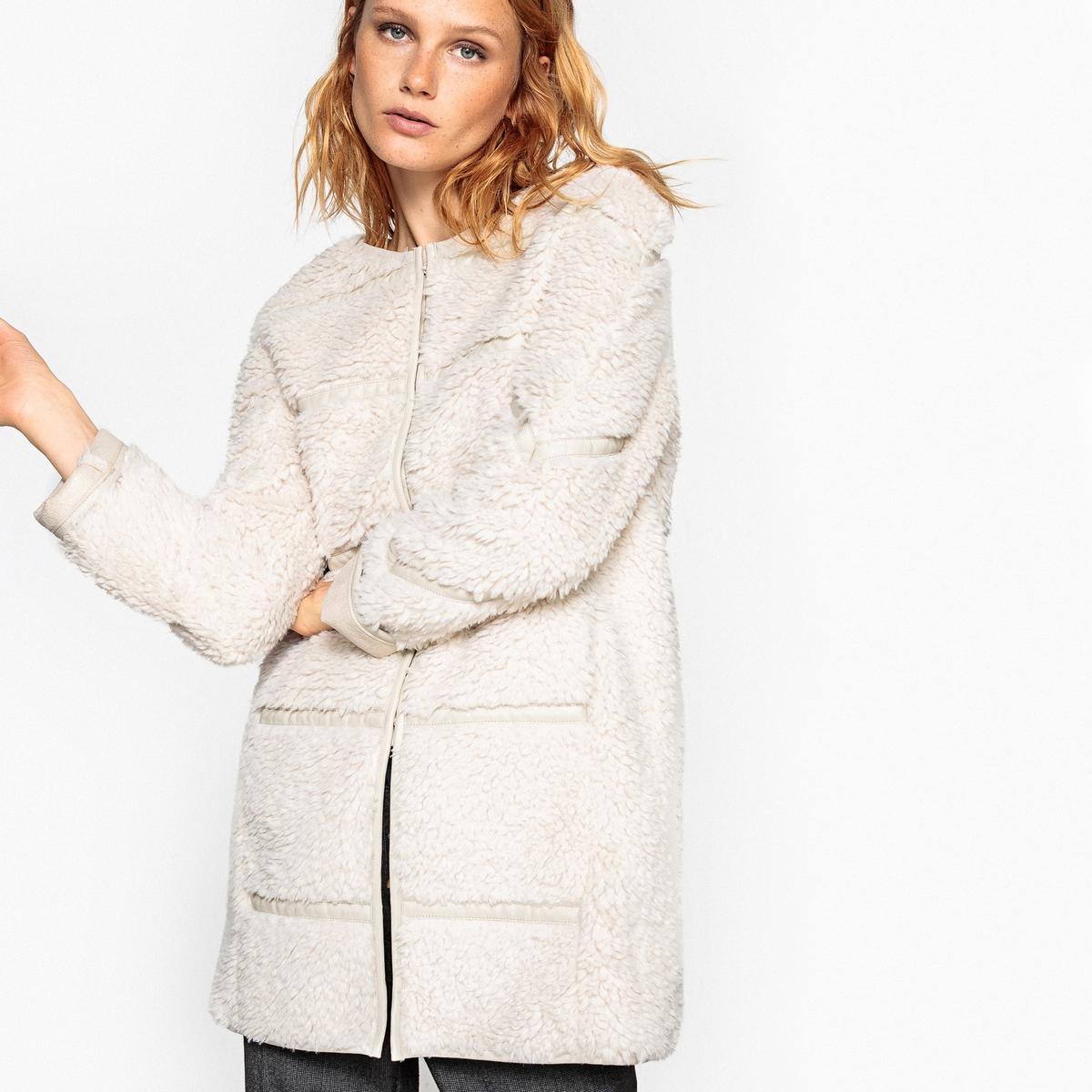 Пальто женское из искусственного меха жакет из велюра на подкладке из искусственного меха