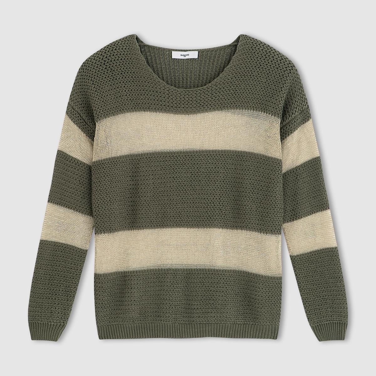 SUNCOO Пуловер из двух материалов с длинными рукавами