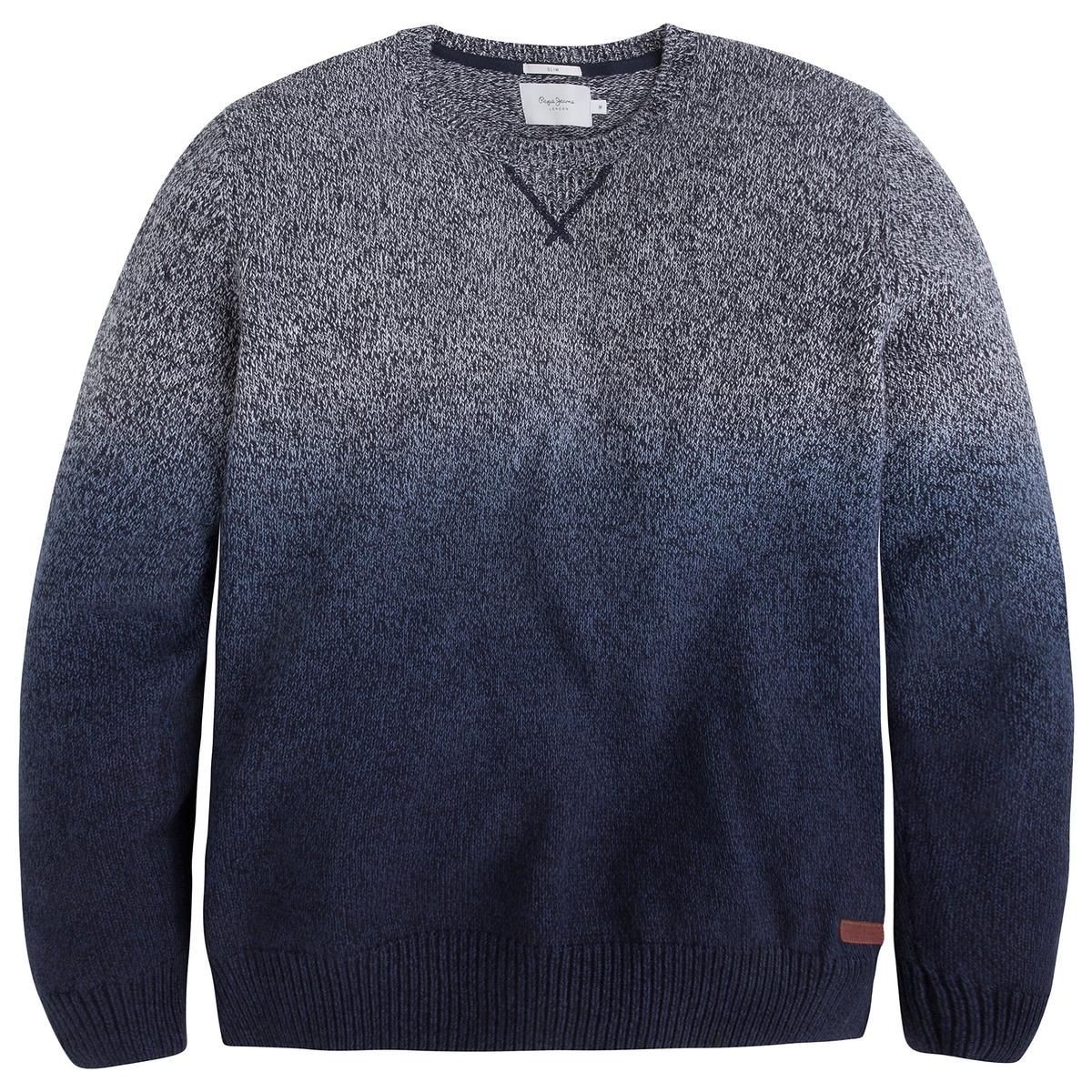 Пуловер с круглым вырезом из тонкого трикотажаДетали •  Длинные рукава •  Круглый вырез •  Тонкий трикотаж  •  Рисунок тай-энд-дай Состав и уход •  100% хлопок •  Следуйте советам по уходу, указанным на этикетке<br><br>Цвет: синий индиго<br>Размер: L